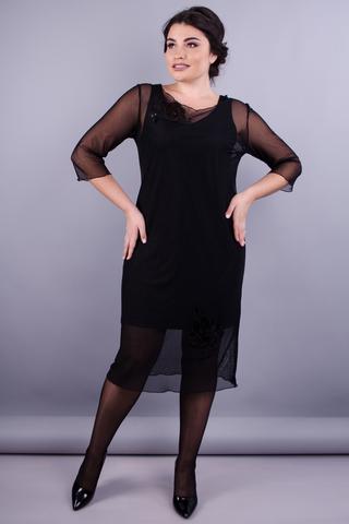Аура. Елегантна жіноча сукня плюс сайз. Чорний.