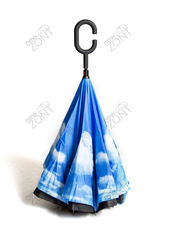 Зонт перевертыш голубое небо полуавтоматический