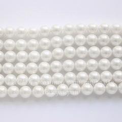 Бусина Перламутр (категория А)(тониров), шарик, цвет - белый, 6 мм, нить