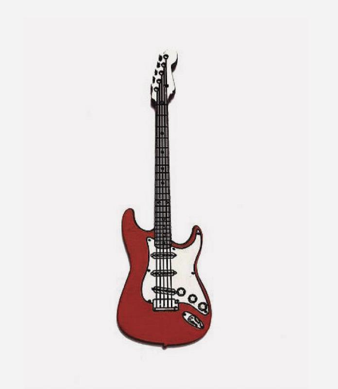 Брошь Гитара Красная
