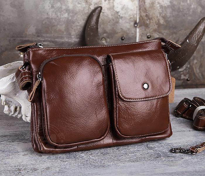 BAG430-2 Мужская компактная сумка из натуральной кожи коричневого  цвета фото 01