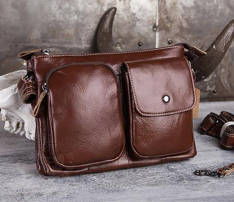 Мужская компактная сумка из натуральной кожи коричневого  цвета