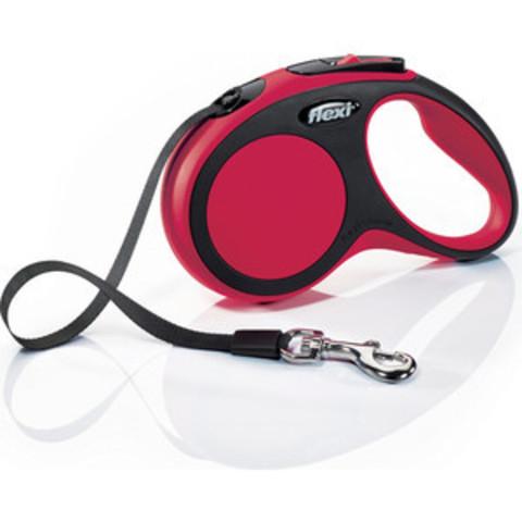 Flexi поводок-рулетка New Comfort S (до 15 кг) лента 5 м (черный/красный)