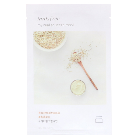 Innisfree Листовая маска для лица с экстрактом овса My Real Squeeze Mask Oatmeal