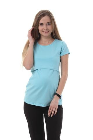 Футболка для беременных и кормящих 09962 голубой