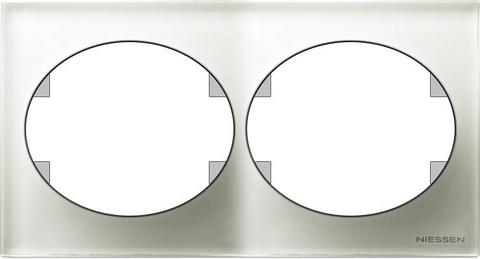 Рамка на 2 поста, горизонтальный монтаж. Цвет Белое стекло. ABB(АББ). Tacto(Такто). 5572.1 CB