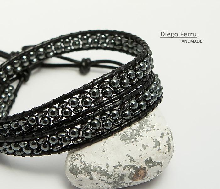 BS748 Красивый браслет из натурального гематита ручной работы, Diego Ferru фото 06
