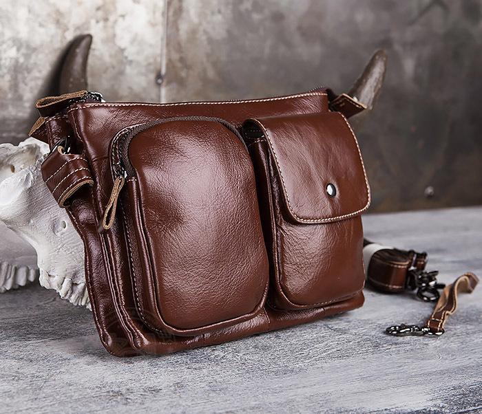 BAG430-2 Мужская компактная сумка из натуральной кожи коричневого  цвета фото 02