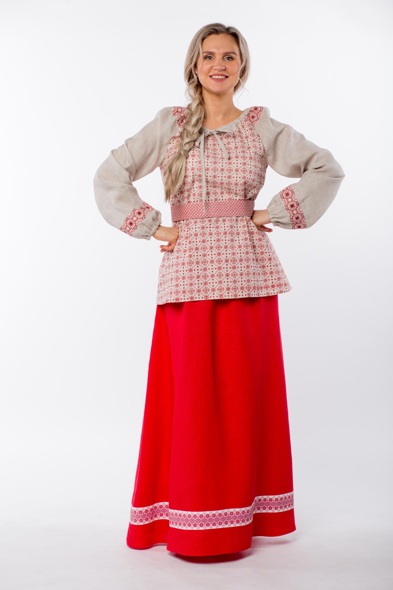 Блуза льняная Макошь на сером купить