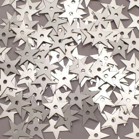 Пайетки mini (5мм). Серебрянные звезды.