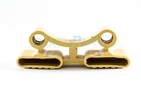 Латодержатель амортизирующий, двойной 38 мм., желтый, открытая установка (ш)