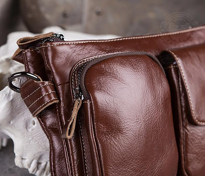 BAG430-2 Мужская компактная сумка из натуральной кожи коричневого  цвета фото 03