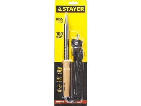 Паяльник с деревянной рукояткой и долговечным жалом, STAYER