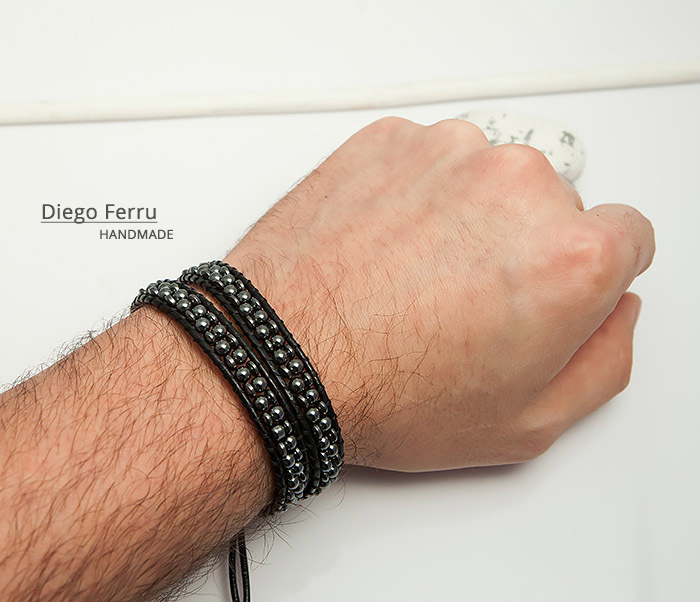 BS748 Красивый браслет из натурального гематита ручной работы, Diego Ferru фото 07