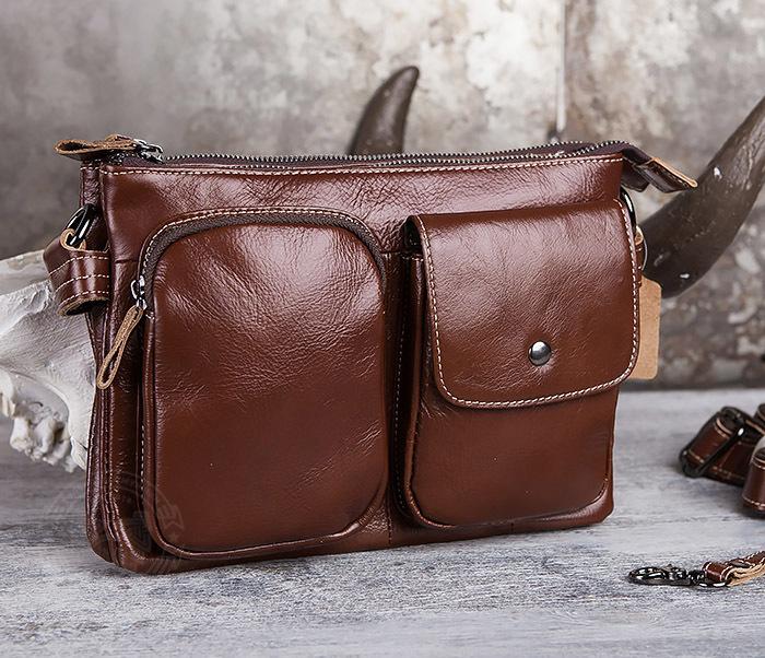 BAG430-2 Мужская компактная сумка из натуральной кожи коричневого  цвета фото 04