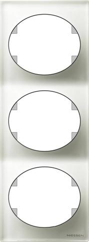 Рамка на 3 поста, вертикальный монтаж. Цвет Белое стекло. ABB(АББ). Tacto(Такто). 5573 CB