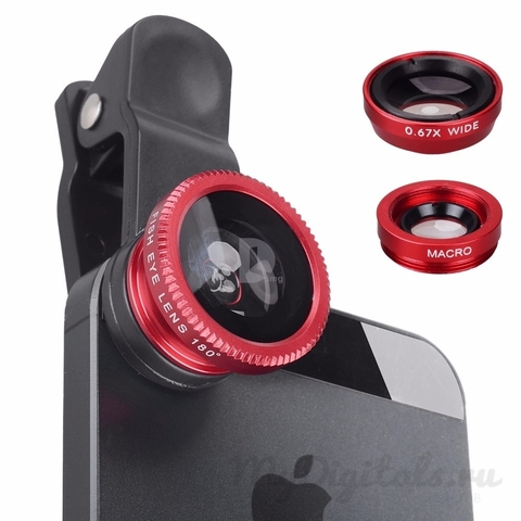 Универсальный объектив для телефона 3в1 фишай, широкоугольный, макро (Красный)