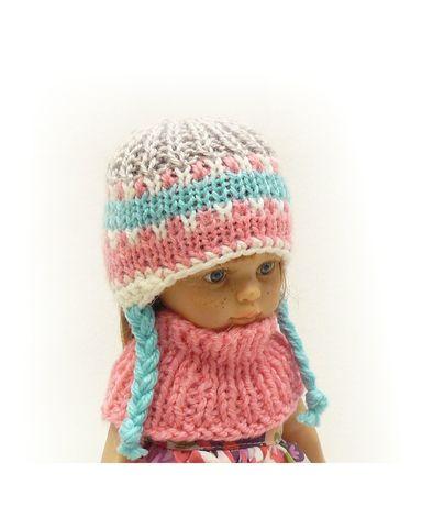 Шапка и шарф - На кукле. Одежда для кукол, пупсов и мягких игрушек.