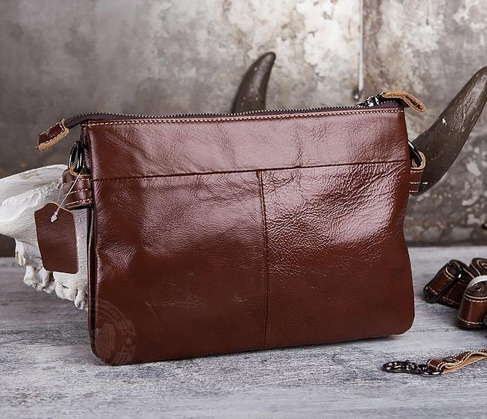 BAG430-2 Мужская компактная сумка из натуральной кожи коричневого  цвета фото 05