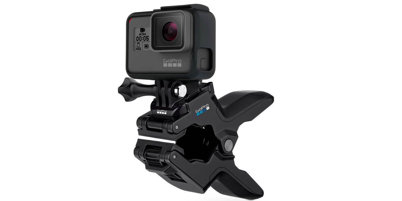 Прищепка GoPro Jaws: Flex Clamp (ACMPM-001) с камерой вид сбоку