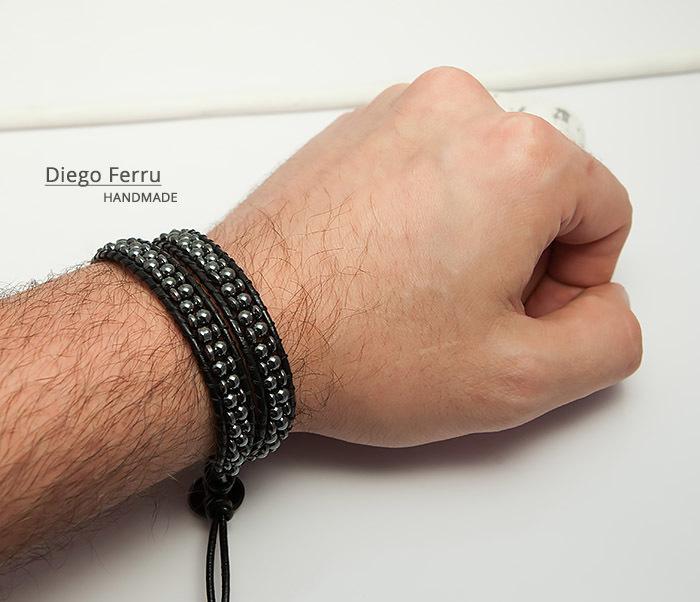 BS748 Красивый браслет из натурального гематита ручной работы, Diego Ferru фото 08