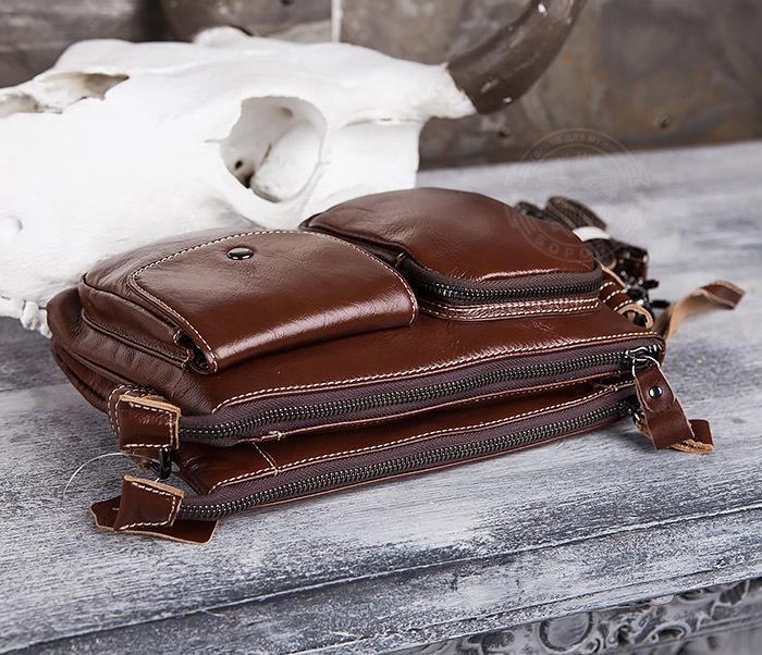 BAG430-2 Мужская компактная сумка из натуральной кожи коричневого  цвета фото 06