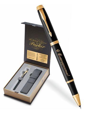 Набор с гравировкой: Чехол и Ручка роллер Parker IM, Black GT