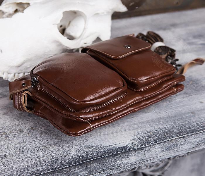 BAG430-2 Мужская компактная сумка из натуральной кожи коричневого  цвета фото 07