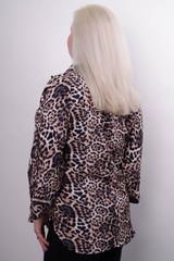 Магда. Стильная женская рубашка больших размеров. Леопард желтый.