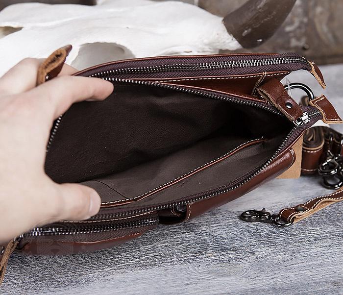 BAG430-2 Мужская компактная сумка из натуральной кожи коричневого  цвета фото 08