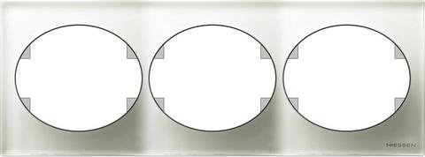 Рамка на 3 поста, горизонтальный монтаж. Цвет Белое стекло. ABB(АББ). Tacto(Такто). 5573.1 CB