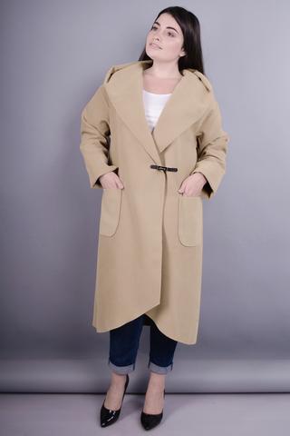 Сарена. Женское пальто-кардиган больших размеров.. Беж.