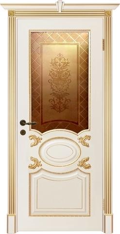 Дверь Prestigio Фарнезе, стекло бронза с пескоструйным рисунком, цвет  слоновая кость/патина золото, остекленная