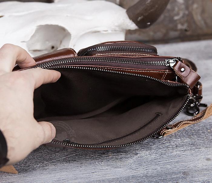 BAG430-2 Мужская компактная сумка из натуральной кожи коричневого  цвета фото 09