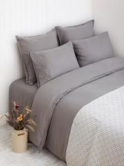 Постельное белье 2 спальное евро Bovi Linen серое