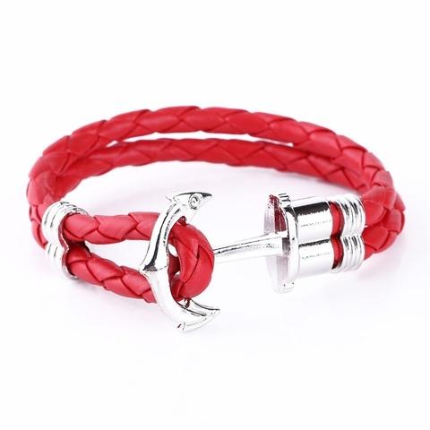 Браслет с серебряным якорем (красный)