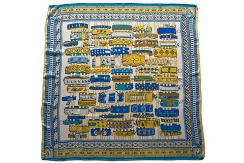 Итальянский платок из шелка сине-желтый с принтом 5851