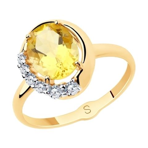 715655 - Кольцо из золота с цитрином и фианитами