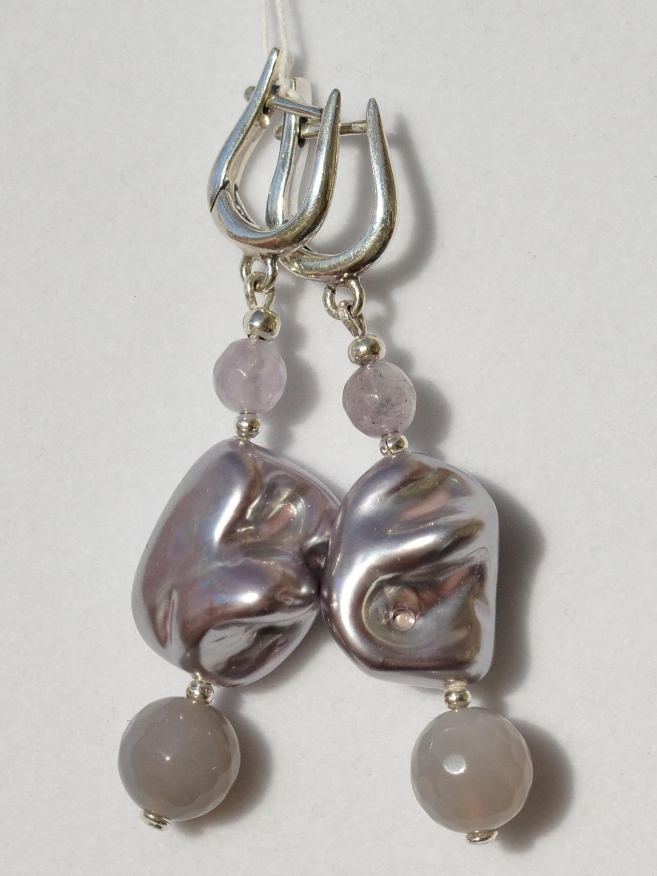 Самоцветы-перл (серьги из серебра)