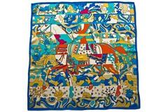 Итальянский платок из шелка цветной картина 5876