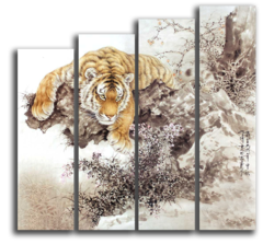 "Модульная картина ""Тигр на дереве"""