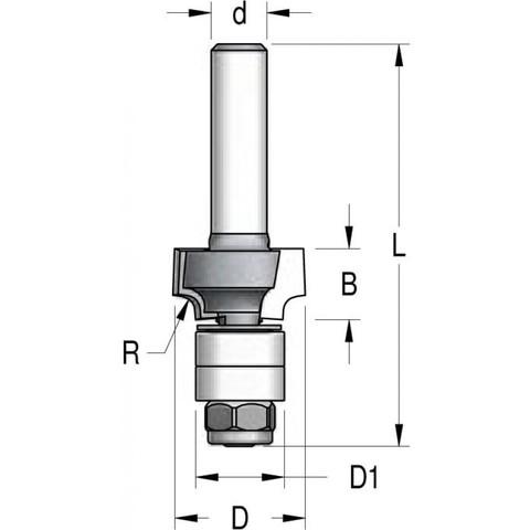 Фреза радиусная с нижним подшипником полуштап 18x8x57x6 R2 RWB0203