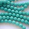Бусина Жадеит (тониров), шарик, цвет - голубой, 8 мм, нить (зеленоватые)