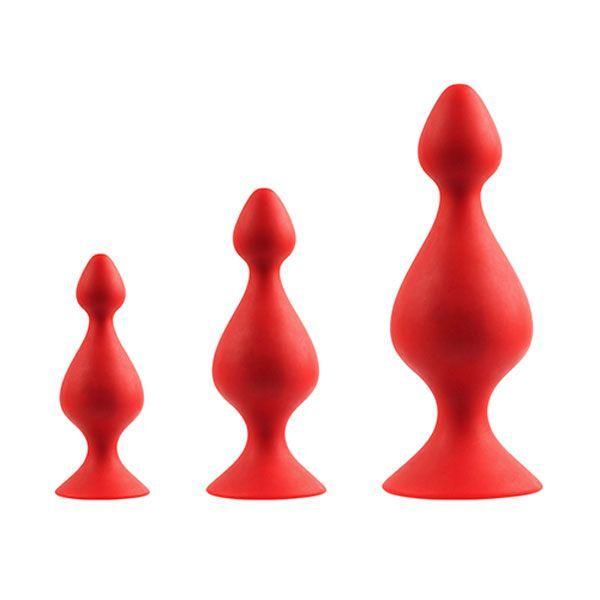 Анальные пробки: Набор из 3 красных анальных силиконовых втулок MENZSTUFF 3-PIECE ANAL PAWN SET