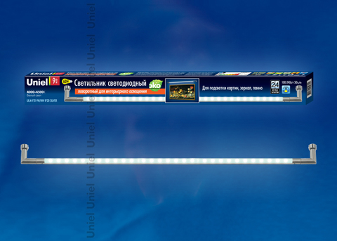ULM-F31-9W/NW IP20 SILVER Светильник светодиодный поворотный для интерьерного освещения. В комплекте с адаптером. Длина 59 см. Материал корпуса алюминий, цвет серебро. Белый свет. Упаковка-картонная коробка.