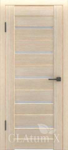 Дверь GreenLine X-7 Atum, стекло белое, цвет капучино, остекленная