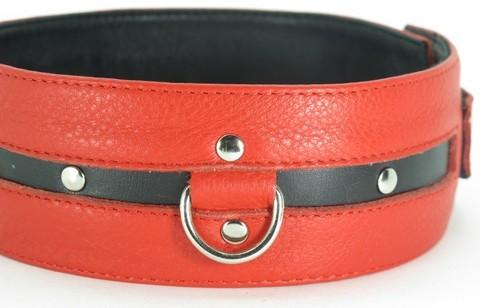 Ошейник БДСМ из кожи черно-красный увеличенного размера XL (BDSM Арсенал)