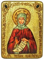 Инкрустированная икона Преподобная Фотиния (Светлана) Палестинская 29х21см на натуральном дереве в подарочной коробке