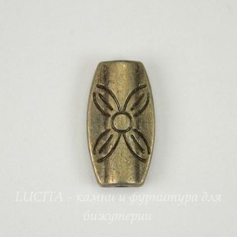 """Бусина металлическая овальная """"Цветок"""" 16х9 мм (цвет - античная бронза)"""