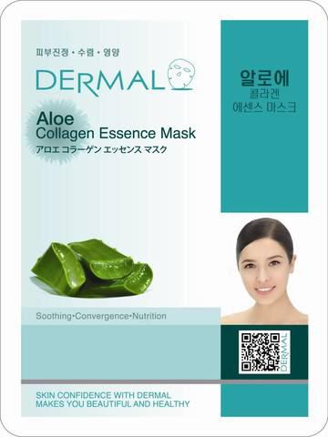 Dermal Маска д/лица ткан. алоэ и коллаген - успокаивающая Aloe Collagen Essence Mask, 23 гр